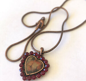 Vintage 1990's Red Rhinestone Cute Heart Necklace