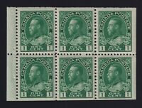 Canada Sc #104a (1911) 1c yellow green Admiral Booklet Pane Mint VF NH