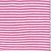 Melon Pink/White Stripe Jersey Knit, Fabric By The Yard