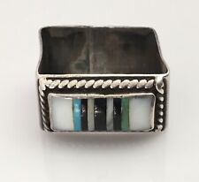 Antique Southwest 925 Sterling Silver Scarf Ring Holder Turquoise MOP Onyx