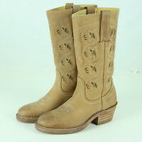 Frye Austin Cut Out Boots Womens Size 6.5 7 M Tan Leather Cutouts Cowboy Cowgirl