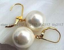 Pearl Round Gold Leverback Dangle Earring Aaa Fashion 12mm White South Sea Shell