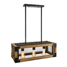Industrial Wood Metal Chandelier Kitchen Island Pendant Ceiling Lighting Fixture