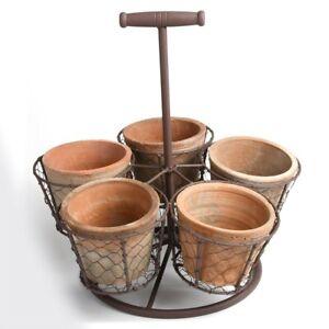stehender Topfhalter mit 5 Töpfen Vintage auf alt gemacht Kräutertopf Garten