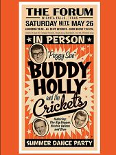 "Buddy Holly and the Crickets The Forum 16"" x 12"" Photo Repro Concert Poster"