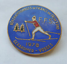 Insigne Émaillé Championnats de France SKI de Fond Gerardmer 1978 F.F.S. Broche