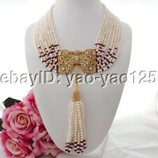 """K090404 19"""" 9Strands White Pearl Red Jade Necklace CZ Pendant"""
