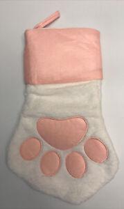 "Pet Stocking Cat/Dog Christmas Stocking Fleece White and Pink Paw Shaped 16"" B10"