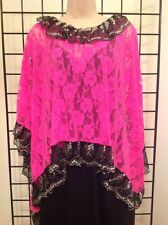 Designer Lace Poncho NWT $149, Rectangular, Pink One Size Sequin, Kerry Damiano