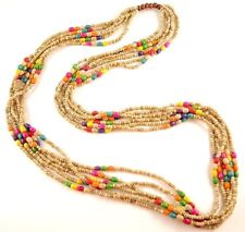 1 Beige Multi Strand Mixed Colour Wood Beaded Fashion Necklace - # B115