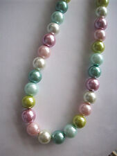 NEW CHUNKY PASTEL  MULTI COLOR  GLASS PEARL NECKLACE BUY ANY 2 GET 1 FREE