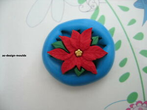 Christmas Poinsettia Flower Silicone Mould/Mold Sugar Craft, Cupcake Toppers