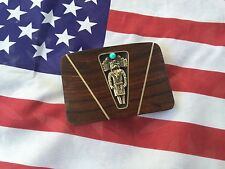 Signed Native Wooden Belt Buckle With Sterling Silver (?) And Turquoise Navajo