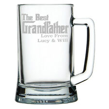 Personalised 'The Best Grandfather' Glass Tankard Perfect Gift For Grandad