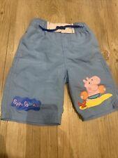 Boys Peppa Pig World Blue Swim Trunks Iwth Elasticsted Waist 1/2 Years