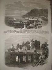 Palace of the Rana Udaipur and Lake Kankrowlee India 1868 old prints ref Z1