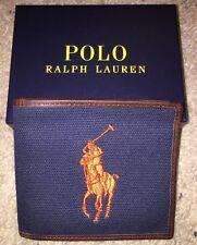 POLO RALPH LAUREN Men's Bifold Canvas & Leather Big Pony Wallet Navy Blue NEW