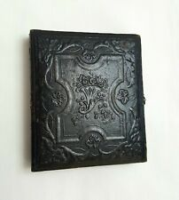Victorian leather travelling photograph frame case 19th Century travel photo box