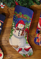 Snowman Santa Clause Sleigh Hand Stitched Needlepoint Christmas Stocking