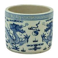 Vintage Style Blue and White Porcelain Dragon Motif Flower Pot 7""