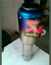 AKRAPOVIC Blue Head Steel Exhaust Silencer  For All Bikes KTM BAJAJ SUZUKI HONDA