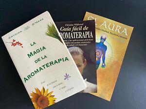 Lote de 3 Libros: La magia de aromaterapias, Guia de aromaterapias, El Aura