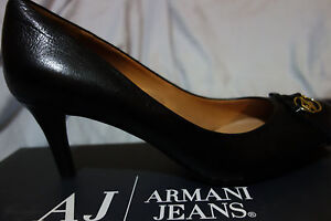 Armani AJ Black Leather High Heal Logo Size 40 UW519/P1