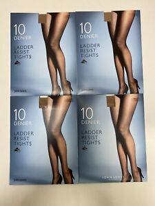 John Lewis 10 Denier Ladder Resist Tights. 4 Packs Of 1 Pair. Nude. Med & Large