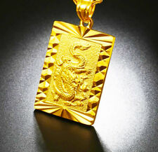 "24k Yellow Gold Dragon Pendant With 24"" Chain Link Necklace W Giftpkg D451"
