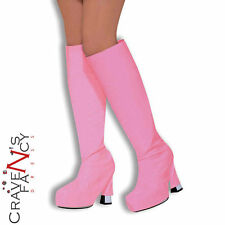 Pink GoGo Girl 60s 70s Shoe Boot Tops Covers Hippy Fancy Dress Costume