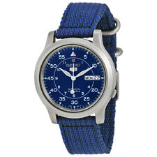 Seiko Automatic SNK807K2 Mens Blue Dial Day Date Nylon Strap Watch