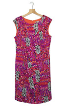 LESLIE FAY Size 16 Dress Stretch Bright Pink Orange Casual Work Party EUC