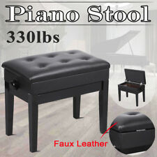 Black Adjustable PU Piano Wood Bench Storage Keyboard Stool Padded Height Seat