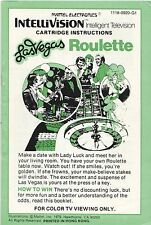 [MANUAL] IntelliVision Las Vegas Roulette Instruction Booklet