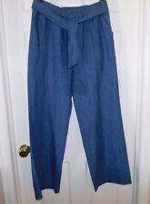 Nwt $130 Michael Kors Blue Stripe Linen Blend Full Leg  Elastic Waist Pants...10