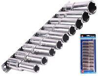 "Bluespot Metric Deep Socket Set/ Long Reach Sockets On Rail 1/2"" Drive 10-22mm"