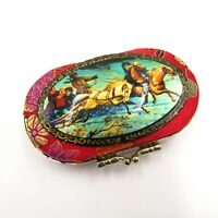 Russian Old Jewelry Makeup Palekh Box Metal Covered in Red Silk w Picture