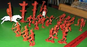 NICE LOT OF MARX .....RECAST.....54 MM FORT APACHE INDIANS IN RUST-RED.....