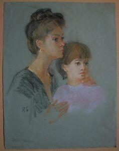 Russian Ukrainian Soviet pastel Painting Portrait mother daughter realism 1950
