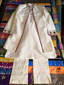 Mens Indian Asian Sherwani 3 piece ivory wedding suit embellished size 38 S M