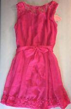 NWT Pura Vida Ladies Juniors Sleeveless Mini Dress Pink White with Lace Sz Med
