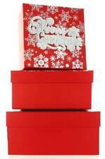 Set di 3 Natale Medio Quadrato nidificati Scatole Regalo-moderno Merry Natale Fiocco Di Neve