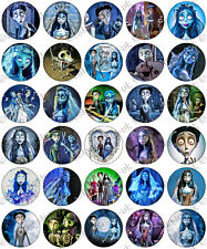 30 x Tim Burton's CORPSE BRIDE Edible Rice Wafer Paper Cupcake Toppers