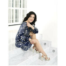 Jaime Murray in Navy Blue Flower Dress on Marble Stairs 8 x 10 inch photo