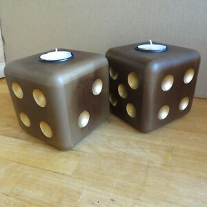 2 x Big dice tea light holders wood effect and gold apr 10cm candle