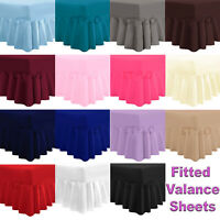 LUXURY FITTED VALANCE BOX BED SHEET PLAIN DYED PLEATED FRILLED PERCALE BEDDING