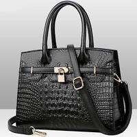 Women's Genuine Leather Crocodile Handbags Satchel Tote CrossBody Shoulder Bags