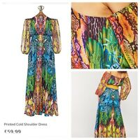 BODYFLIRT BOUTIQUE Ladies Multicolour Dress Size 20 Maxi Cold Shoulder NEW NWOT