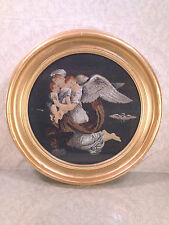 Bertrel Thorvaldsen Embroidery of Marble Medallion Angel Holding Babies and Owl