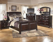 WESTWOOD 5 pieces Modern Dark Brown Wood Bedroom Set FURNITURE - King Sleigh Bed
